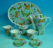 % Butterfly & Roses Miniature Coffee Set