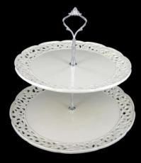 % Creamware 2 Tier Cake Stand