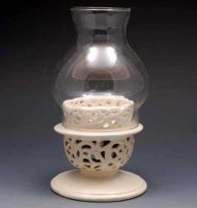 % Creamware Candle Holder with Glass Cover