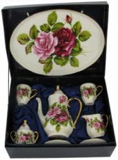 % Miniature 'Pink & Red Roses' Tea Set
