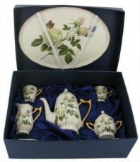 % Miniature 'White Rose' Tea Set