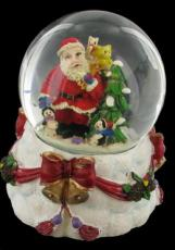 % Santa with Bells and Ribbons Snowglobe