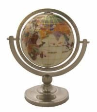 110mm Mother of Pearl Pewter Pedestal Gemstone Globe