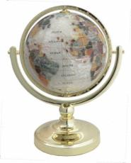 150mm Crushed Mother of Pearl Single Pedestal Gemstone Globe