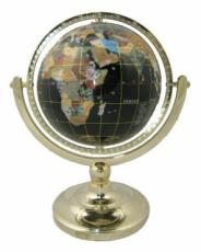 220mm Black Agate Single Pedestal Gemstone Globe