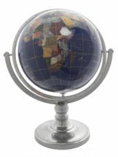 220mm Blue Lapis Pewter Single Pedestal Gemstone Globe