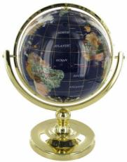 220mm Blue Lapis Single Pedestal Gemstone Globe