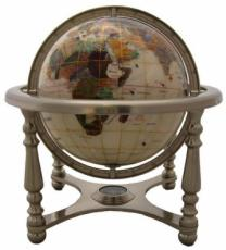 220mm Mother Of Pearl Four-Legged Pewter Stand Gemstone Globe