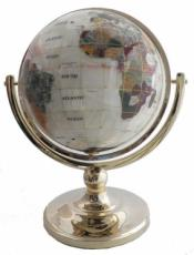 220mm Mother of Pearl Single Pedestal Gemstone Globe