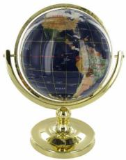 330mm Blue Lapis Single Pedestal Gemstone Globe