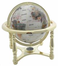 330mm Coloured Crushed Pearl Four-Legged Stand Gemstone Globe