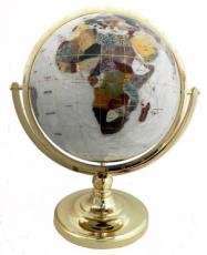 330mm Crushed Mother of Pearl Single Pedestal Gemstone Globe