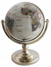 330mm Mother of Pearl Single Pedestal Gemstone Globe