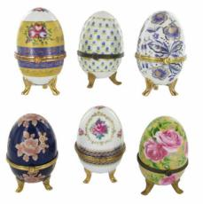 6 Assorted Footed Egg Trinket Boxes