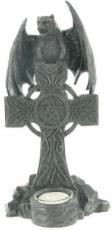 Bat on Cross T-Light Holder in Gun Metal