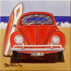 Beetle On The Beach Ceramic Picture Tile By Peter Adderley 12