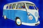 Blue Split Screen Volkswagen (VW) Campervan Ceramic Picture Tile by Kandy 8