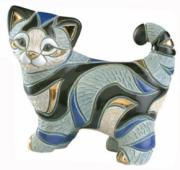 Blue Tabby Cat Sitting, Families Collection Figurine by De Rosa