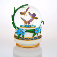 Butterflies Over Forget-Me-Nots Waterglobe
