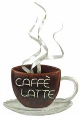 Caffe Latte Coffee Cup Wall Art, Metal Decor x2