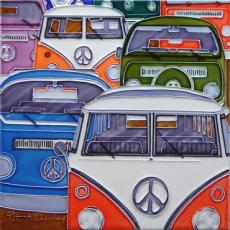 Campervan Collection Ceramic Picture Tile By Peter Adderley 12