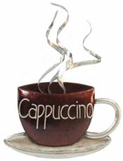 Cappuccino Coffee Cup Wall Art, Metal Decor x2