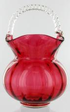 Cranberry Glass Basket