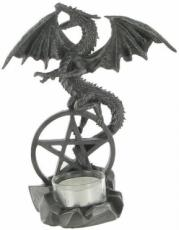 Dragon on Pentagram T-Light Holder in Gun Metal