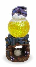 Dragon Sleeping Glitter Lamp Oil Burner with Yellow Glitter Ball