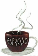 Espresso Coffee Cup Wall Art, Metal Decor x2