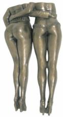 Girls In Arms Cold Cast Bronze Wall Plaque by Love Is Blue