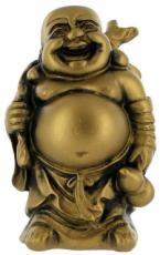 Golden Laughing Buddha with Fan