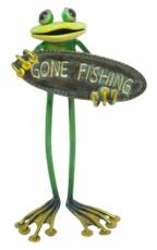 Gone Fishing Frog, Metal Decor x2