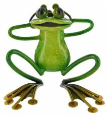Green Relaxing Frog, Metal Decor x2