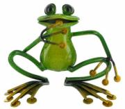 Green Sitting Frog, Metal Decor x2