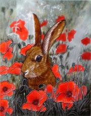 Hare In Poppies Decorative Ceramic Tile By David Feather 11