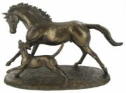 Horse and Hound Cold Cast Bronze Sculpture by Harriet Glen