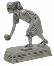 Lady Bowling Pewter Finish Sporting Trophy