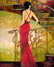 Lady by the Staircase Ceramic Picture Tile by Dominguez 11