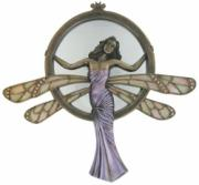 Lady Dragonfly, Coloured Cold Cast Bronze Mirror by Beauchamp Bronze