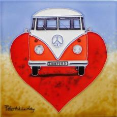 Love Campervans Ceramic Picture Tile By Peter Adderley 12