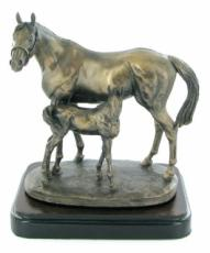 Mare And Foal Cold Cast Bronze Sculpture by David Geenty