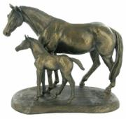Mare And Foal Cold Cast Bronze Sculpture by Harriet Glen