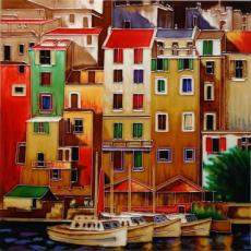 Mediterranean Port Ceramic Picture Tile by Michael O'Toole 12