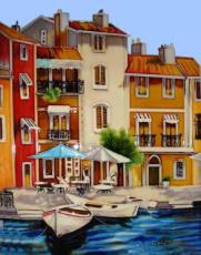 Mediterranean Waterfront 1 Ceramic Picture Tile by Brent Heighton 11
