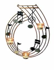 Musical Notes Tealight Holder Wall Art, Metal Decor x2