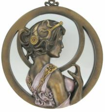 Nouveau Lady, Coloured Cold Cast Bronze Mirror by Beauchamp Bronze