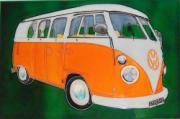 Orange Split Screen Volkswagen (VW) Campervan Ceramic Picture Tile by Kandy 8