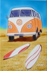 Orange Volkswagen (VW) Campervan Ceramic Picture Tile by Martin Wiscombe 8