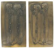 Pair of Mackintosh Style Cold Cast Bronze Wall Plaques by Beauchamp Bronze